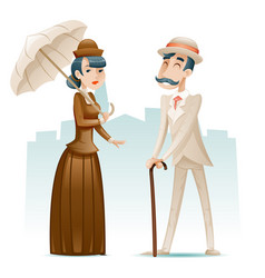 Victorian lady and gentleman wealthy cartoon vector
