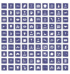 100 favorite work icons set grunge sapphire vector image vector image