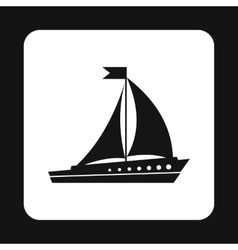 Wooden sailing boat icon simple style vector