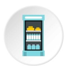 Refrigerator with products in store icon vector