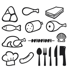 Meat icons set with dining services vector