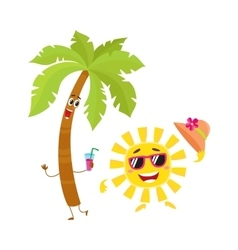 Funny palm tree and sun characters travelling vector