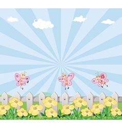 Three butterflies at the garden with a wooden vector image