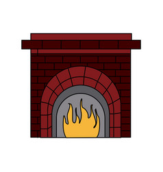 christmas chimney flame frame brick decoration vector image
