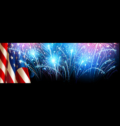 American flag with fireworks vector
