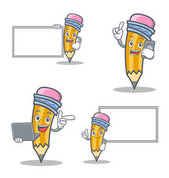 Set of pencil character with board phone laptop vector