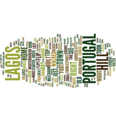 Lost in lagos portugal text background word cloud vector