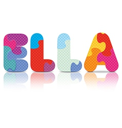 Ella written with alphabet puzzle vector