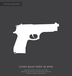 Gun premium icon white on dark background vector