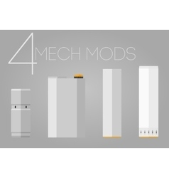 4 colored mechanical mods icons set vector