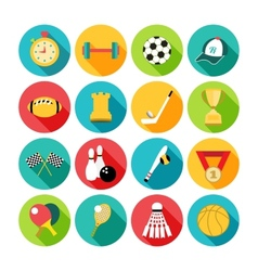 Set of sport icons in flat design with long vector