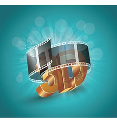 3d word in golden glass with cinema roll vector