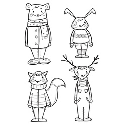 Hand drawn animals in clothes vector image