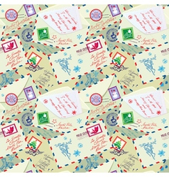 Seamless pattern with xmas stamps envelops labels vector