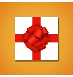 Modern red bow on orange background vector