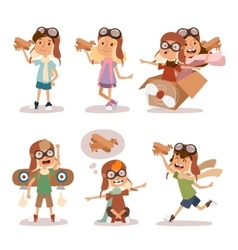 Small cartoon kids playing pilot aviation vector