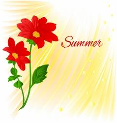 Summer Red Dahlia summer flower stem vector image