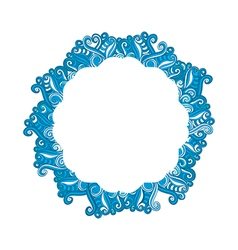 Round blue wave frame ornament banner vector