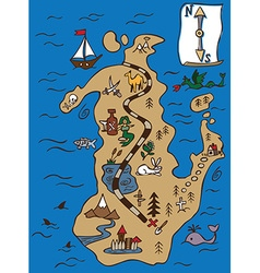 Treasure map and scroll vector