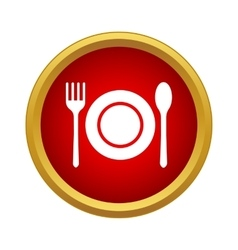 Cutlery set icon in simple style vector