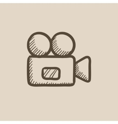 Video camera sketch icon vector image