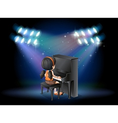A stage with a young pianist performing vector image