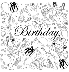 Birthday coloring book vector image vector image