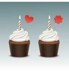 Birthday cupcake with whipped cream and one candle vector