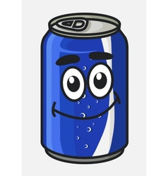 Blue cartoon soda or soft drink can vector
