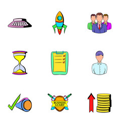 Business card icons set cartoon style vector