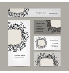 Business cards design floral ornament vector image vector image