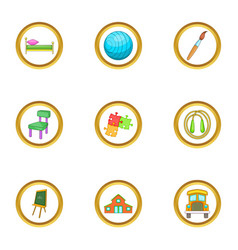 Child care icons set cartoon style vector