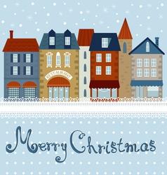 Christmas card houses vector