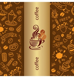 Coffee doodle background vector