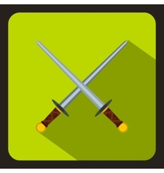 Crossed swords icon flat style vector image vector image