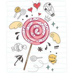 Cute doodle cartoon lollipop vector