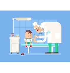 Doctor doing child vaccination vector image