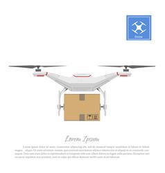 Drone delivering cardboard box vector