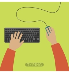Hands typing on keyboard vector image vector image