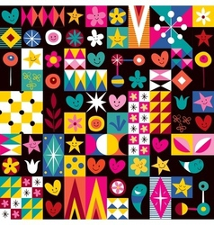 Hearts stars and flowers pattern 2 vector