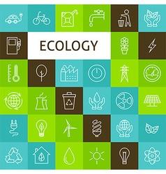 Line art ecology green power icons set vector