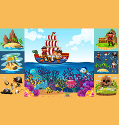 Ocean scenes with pirate on ship vector
