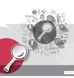 Paper and hand drawn magnifying glass emblem with vector image