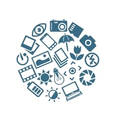 Photography icons in circle vector