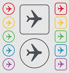 Plane icon sign symbol on the Round and square vector image
