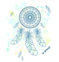 printable hand drawn with dream catcher with vector image vector image