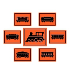 Red rail road icons set vector