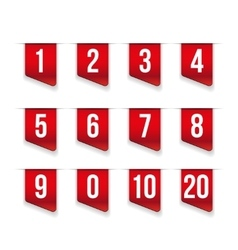 Red ribbons with number set vector