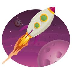 Rocket ship flying in space vector