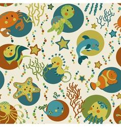 Sea creatures seamless pattern vector